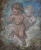 ÉCOLE FRANÇAISE, XIXe siècle  Amours  pastel (frottements), non signé,  17 x 14,5 cm.