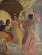 Alexandre LUNOIS  Danseuse espagnole  huile sur toile (petites usures), signée en bas à droite,  73 x 56 cm.