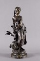 Hippolythe MOREAU   Mireille  bronze à patine médaille, sur la terrasse : Hp. Moreau,  Ht. : 45 cm.
