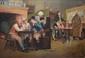 à la manière de John Arthur LOMAX  Scène de taverne  huile sur toile (manques), porte une inscription apocryphe en bas à droite,  90 x 130 cm.