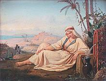 Pierre BONIROTE - Orientale à la fontaine, 1844 - huile sur panneau..