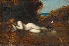 Jean-Jacques HENNER - Nymphe endormie - huile sur papier marouflé...