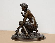 François Théodore DEVAULX - Jeune femme cueillant des fleurs ou La..