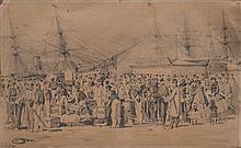 Édouard DETAILLE - L'embarquement pour les Indes - dessin à la...