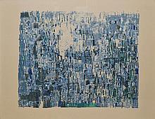Maria Helena VIERA DA SILVA - Morges bleu - lithographie en couleurs..