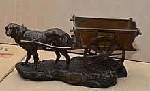 Alfred BARYE - La charette flamande - bronze à deux patines brune et.