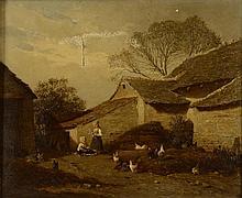 Antoine RICHARD - Enfants dans une basse-cour - huile sur toile...