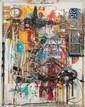 SGARRA Robert, né en 1959 Cabine téléphonique tableau-objet avec horloge, téléphone, vélo, radio et lampe (cette dernière éclairante), signé en bas à gauche,  200 x 154 cm - Prof. : 30 cm.