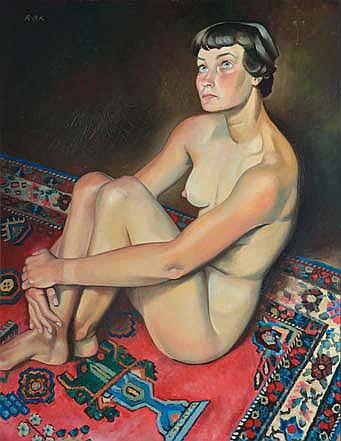BRET - KOCH Ray, 1902 -1996 Nu au tapis huile sur isorel, monogramme en haut à gauche,  73 x 60 cm.