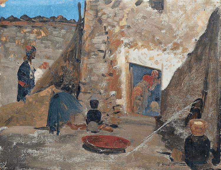 BREST Fabius, 1823 -1900 Cour orientale esquisse à l'huile sur toile sans châssis (plis et accidents), signée en bas à droite,  25 x 32,5 cm.