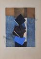 DORNY Bertrand, né en 1931 Le coin de la rue gravure au carborundum, n° 45 / 50 (légère insolation), signée en bas à droite, titrée en au milieu,  49 x 39 cm.