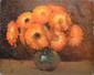PERRON Charles, 1893 -1958 Soucis orange huile sur panneau, signé en bas à droite et son cachet au dos, 22 x 27 cm.