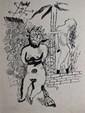 PIKELNY Robert, 1904 -1986 Figures surréalistes plume et encre de Chine, signé en bas à droite,  23,5 x 18 cm.