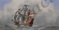 HAFFNER Léon, 1881-1972 Caravelle pochoir à la gouache (mouillures, traces de plis et de griffes, accidents), signé en bas à droite dans la planche, porte un n° Y2 en bas à droite,  40 x 80 cm.