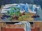 PONCELET Maurice Georges, 1897-1978 Raisins sur la table à tiroir huile sur toile, signée en bas à droite, titrée sur le châssis,  60 x 81 cm.