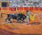 PONCELET Maurice Georges, 1897-1978 Corrida huile sur toile, signée en bas à droite, titrée sur le châssis,  54 x 65 cm.