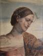 SCHÖFFMANN Maria, 1859-1941 Jeune femme rêveuse, 1897 huile sur panneau (craquelures), signé et daté en bas à droite,  51 x 39,5 cm.