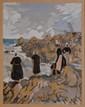 JACOB Max, 1876 -1944 Bretonnes sur les rochers, 1926 héliogravure rehaussée à la gouache et au pochoir, signée et datée en bas à gauche dans la planche,  19 x 15 cm.