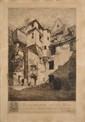 PINARD René, 1883 -1938 Archidiaconé de la Mée, 1926 -1927 eau-forte, n° 92 / 160 (insolation et rousseurs), signée et datée en bas à droite, cachet du monogramme en rouge en bas à droite,  85 x 55 cm.