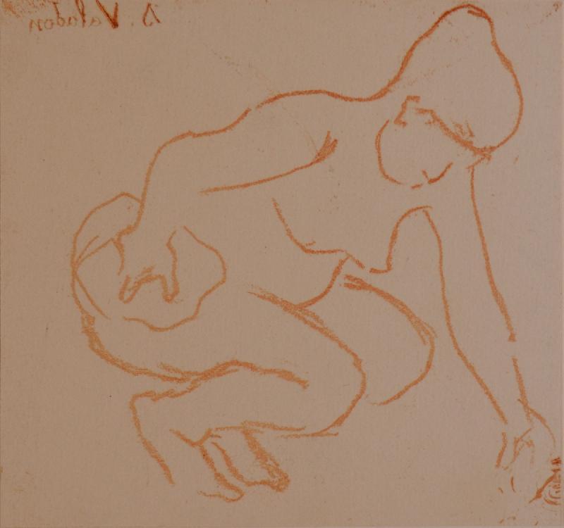 VALADON Suzanne, 1865 -1938 Catherine accroupie, 1894 -1895 vernis mou en bistre (feuille coupée collée en plein), signé en haut à gauche à l'envers dans la planche, 12 x 12,5 cm. BIBLIOGRAPHIE : L'oeuvre complet de Suzanne Valadon, Paul Pétridès,