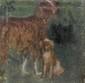 ANQUETIN Louis, 1861-1932 Deux chiens huile sur toile rentoilée à la cire (enfoncements et restaurations), cachet de la signature en bas à droite,  23 x 23 cm.