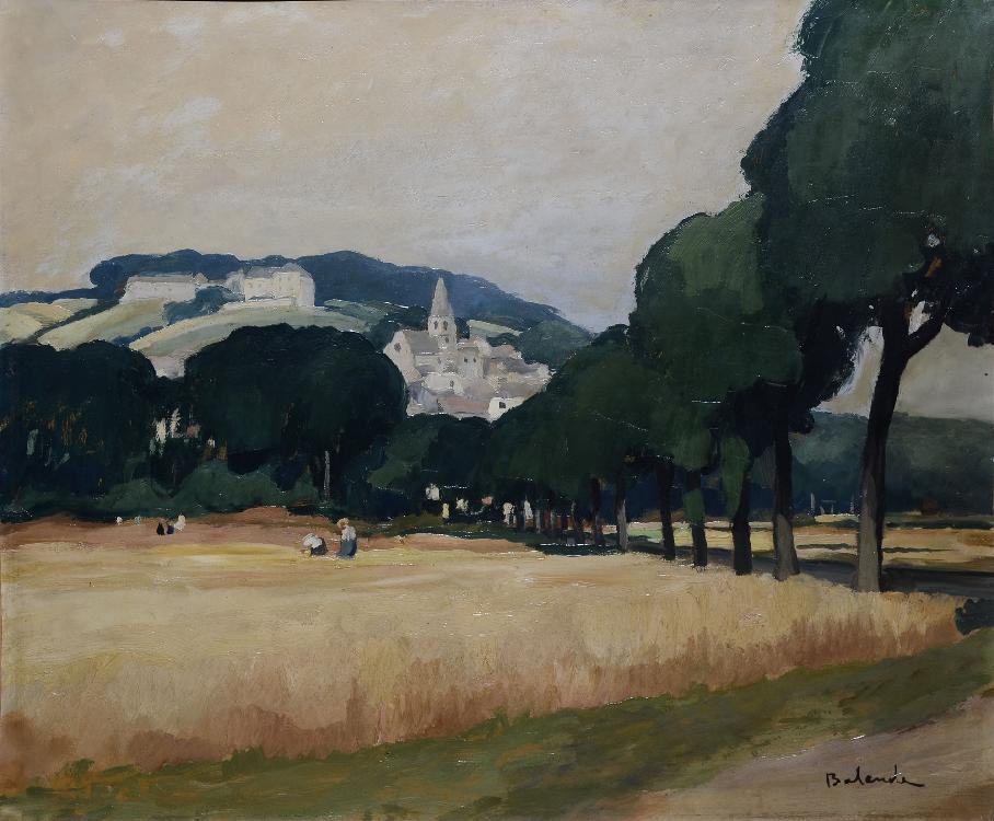 BALANDE Gaston, 1880 -1971 Champs de blé et collines huile sur toile rentoilée (restaurations), signée en bas à droite,  54 x 65 cm.