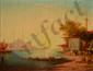 BACHMANN, XIXe siècle Kiosque sur le Bosphore huile sur toile (traces de craquelures), signée en bas à gauche,  50 x 65 cm.