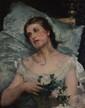 BARDZKA Maria, XIXe siècle Femme aux roses blanches, Rome huile sur toile (restaurations), signée et située en haut à droite,  75 x 62 cm.
