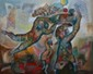 BENHARROUCHE Yoel, né en 1961 Je te porterai au sommet de ma joie peinture sur toile, signée en bas à gauche, signée et titrée au dos,  73 x 92 cm.