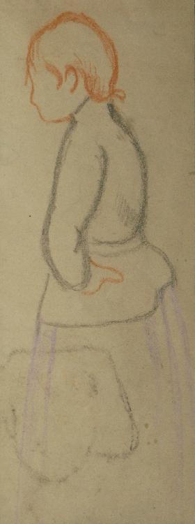 BERNARD Émile, 1868 -1941 Femme de profil dessin aux crayons de couleurs (salissures), cachet de la signature au dos, 15 x 6 cm. PROVENANCE : Collection Mira Jacob. Sur le même montage, page de garde d'un catalogue de dessins symbolistes par André