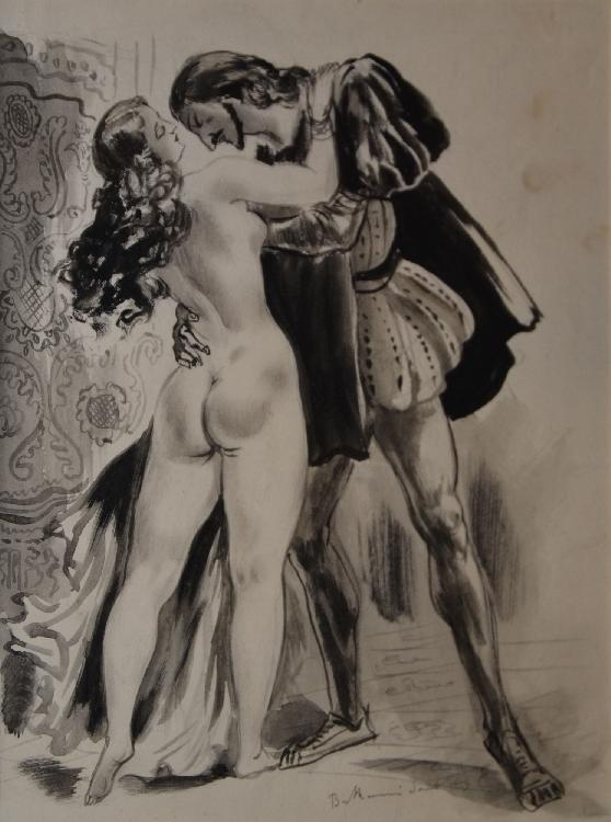 BERTHOMMÉ-SAINT-ANDRÉ Louis, 1905 -1977 Séduction à la Renaissance aquarelle (rousseurs), signée en bas à droite,  21,5 x 17 cm.
