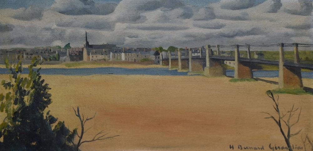 BESNARD-GIRAUDIAS Hélène, née en 1906 Pont sur la Loire huile sur toile, signée en bas à droite,  24 x 48 cm.