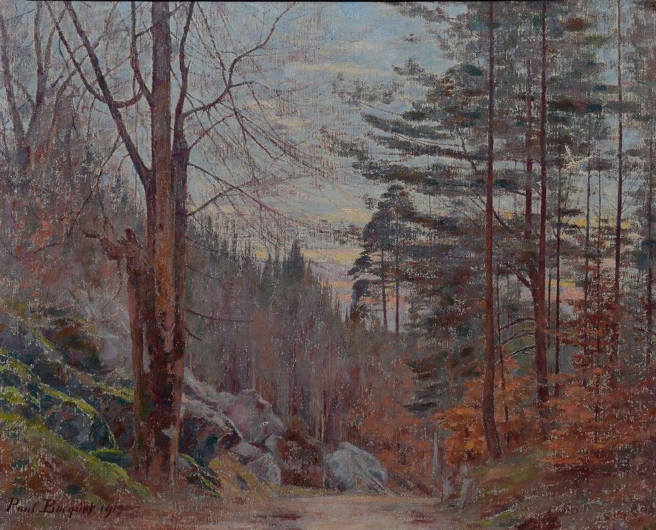 BOCQUET Paul, 1868 -1947 Les rochers en forêt de Fontainebleau à l'automne, 1919 huile sur toile (accidents et restaurations), signée et datée en bas à gauche,  33 x 41 cm.