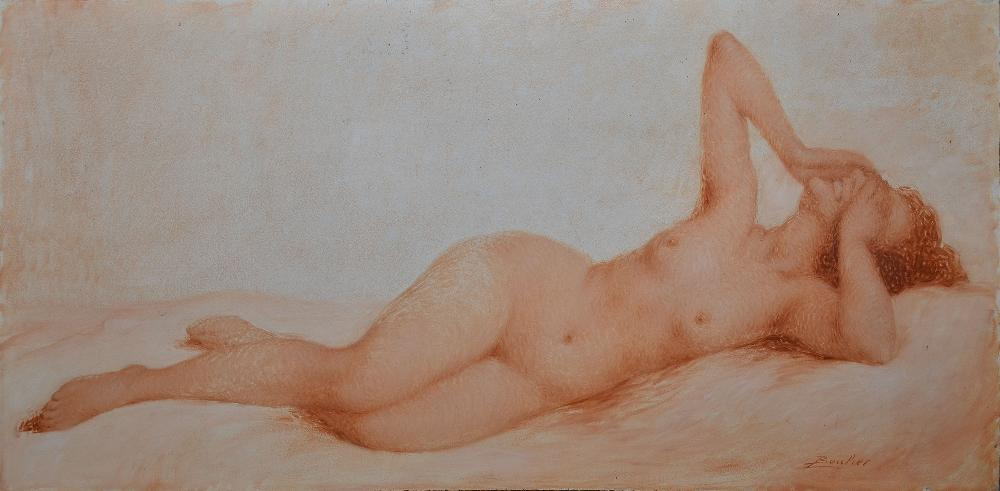 BOULIER Lucien, 1882 -1963 Baigneuse riant huile sur panneau en camaïeu sanguine, signé en bas à droite,  57,5 x 116 cm.