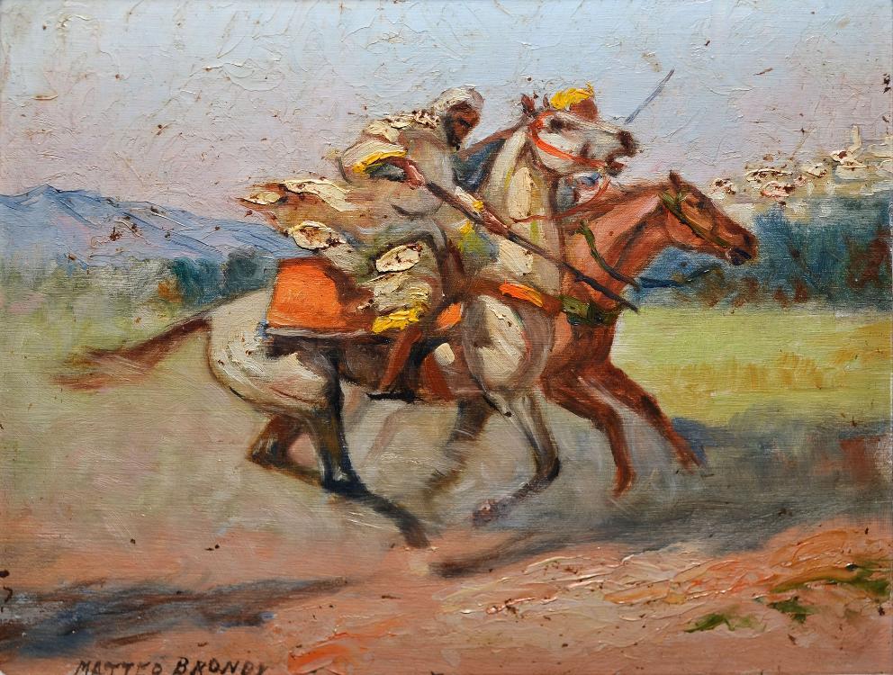 BRONDY Matteo, 1866 -1944 Fantasia, deux cavaliers huile sur panneau, signé en bas à gauche,  19 x 24,5 cm.