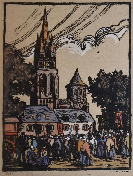 CHEVALLIER KERVEN Marie Renée, 1902 -1987 Pardon breton bois gravé en couleurs, n° 28 / 50, signé en bas à droite,  29,5 x 23,5 cm.