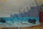 CALDERINI Luigi, 1880 / 81-1973 Rivage aux barques huile sur papier, signé en bas à droite,  17 x 23 cm.