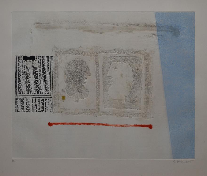 COIGNARD James, 1925 - 2008 Profils à la ligne rouge gravure au carborundum, EA, signée en bas à droite,  39,5 x 49 cm.