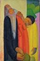 ÉCOLE MODERNE Trois personnages, 1947 huile sur toile (très petits manques), monogramme et date en bas à gauche : X-L 1947,  50 x 33 cm.