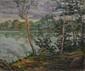 ÉCOLE MODERNE  Arbres au bord d'un lac huile sur toile, signature peu lisible en bas à droite,  38 x 46 cm.