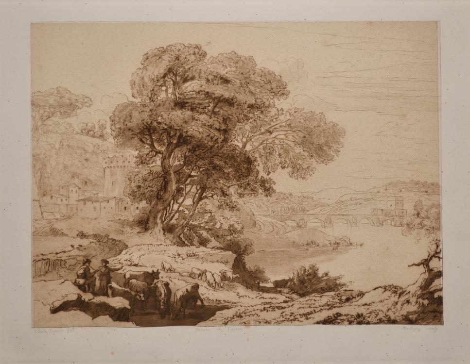 DAUBIGNY Charles François, 1817-1878 L'abreuvoir d'après le tableau de Claude Gellée au Musée du Louvre eau-forte sur fond bistre, épreuve sur Chine appliqué sur vélin (quelques piqûres, humidité, bonnes marges), Delteil, 64 IIIe/III, 26 x 34,5 cm.