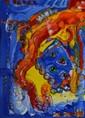 FRIDRIKS Katrin, née en 1974 Petit aquarium Technique mixte et peinture sur toile, signée en bas à droite,  61 x 46 cm.