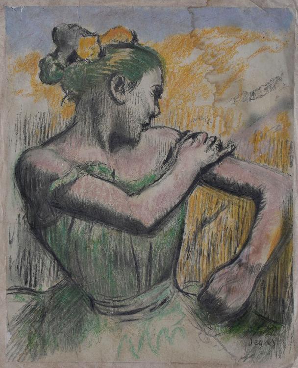 DEGAS Edgar, Auguste CLOT d'après Ballerine remettant sa bretelle lithographie en couleurs avec des rehauts au pastel sur feuille appliquée, Auguste Clot lithographe (salissures, humidité et accidents importants), signé en bas à droite dans la