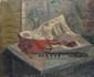 LABAT Fernand, né en 1889 Nature morte à la table huile sur toile (griffures et petits accidents), signée en bas à droite,  50 x 65 cm.