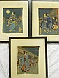 Three old Japanese wood block prints on silk
