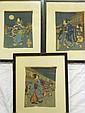 Three old Japanese wood block prints on silk