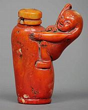 A Chinese simulated coral snuff bottle, possibly