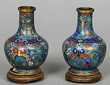 A pair of late 19th century Chinese cloisonne vas