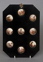 A set of nine 19th century Continental miniature