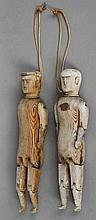 A pair of Folk Art peg dolls Each a male figure,